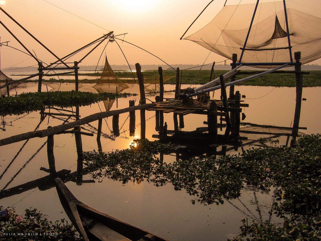 Traditional fishing nets near Kumarakom Lake Resort.