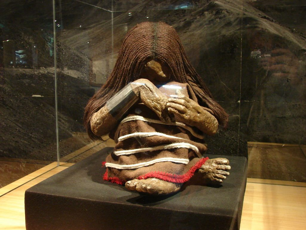 The dry climate of the Andes Mountains creates a natural mummification process. You can see mummies like this one at the Museum of Culture!