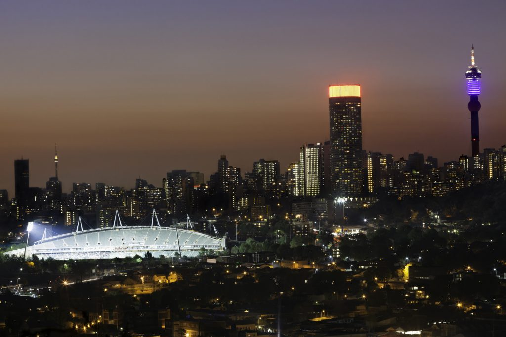 Ellis Park Stadium illuminates the night skyline of Johannesburg. Photo: iStock.