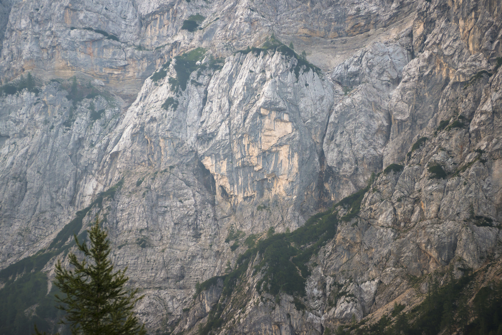 Pagan GIrl's face carved into the mountain