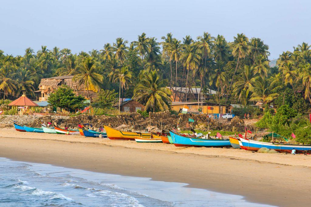 Fishing boats on the beaches of Gokarna, India.