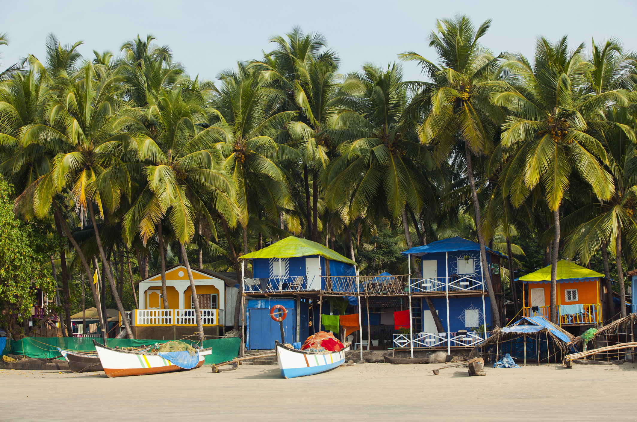 Colorful bungalows on Palolem Beach, Goa