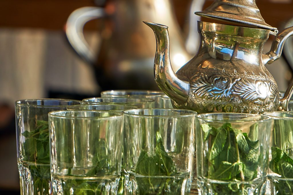 Moroccan mint leaves are served in arabic tea