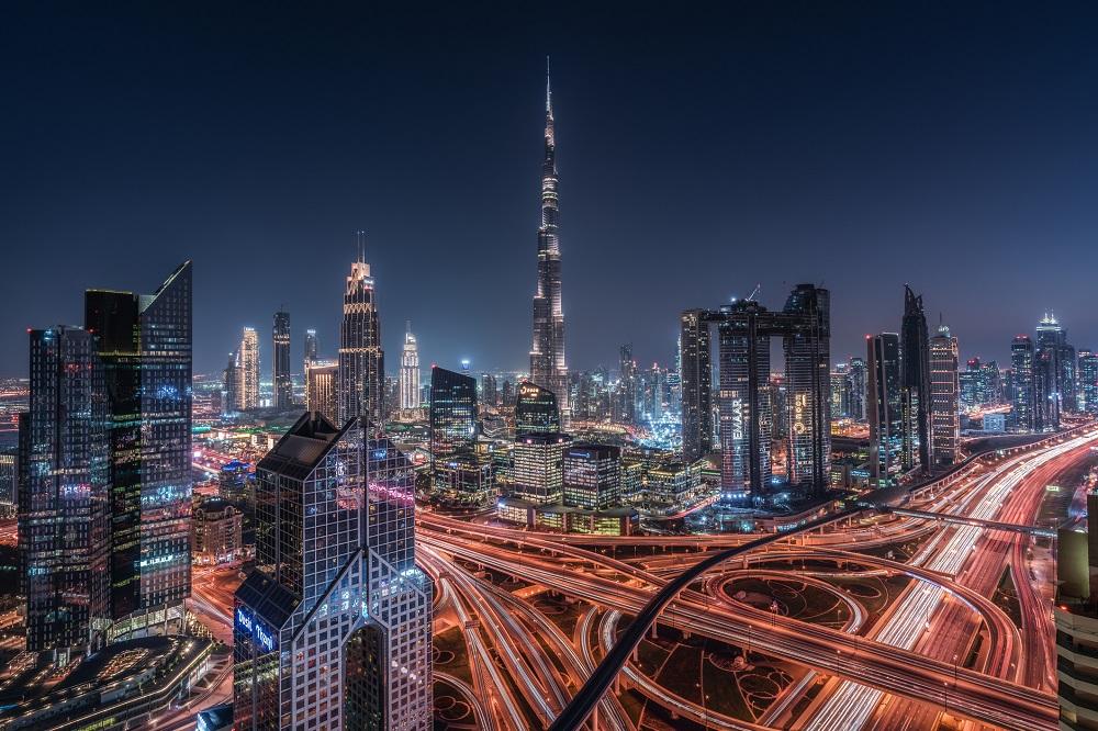 burj khalifa and surrounding city lights