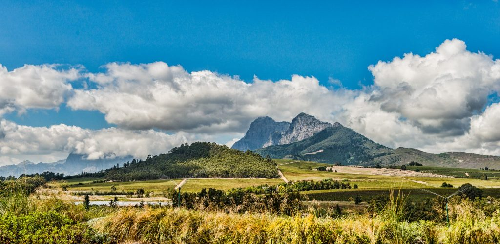 View of a mountain from Anura Vineyards in the Winelands region of South Africa