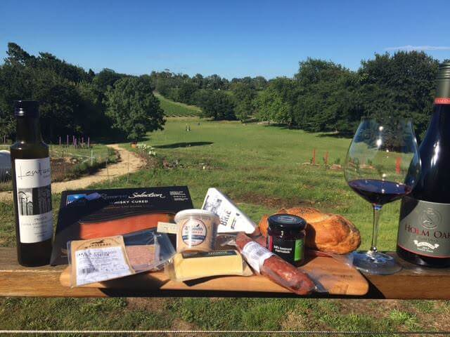 Selection of meats and cheeses for sampling at Holm Oak.